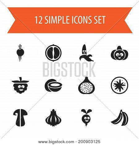 Set Of 12 Editable Food Icons. Includes Symbols Such As Beet, Jungle Fruit, Cocos And More
