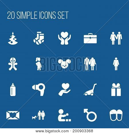 Set Of 20 Editable Family Icons. Includes Symbols Such As Hosiery, Affection Letter, Couple And More