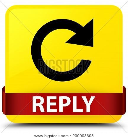 Reply (rotate Arrow Icon) Yellow Square Button Red Ribbon In Middle
