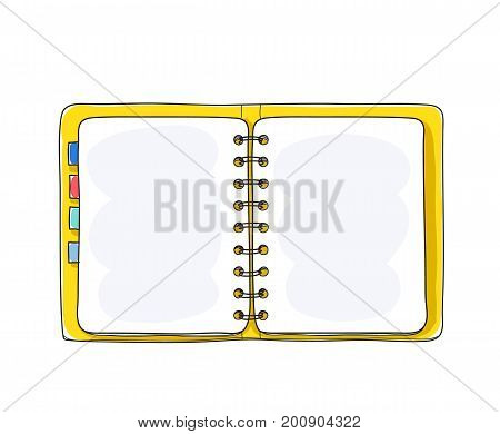 notebook yellow cover hand drawn on white background blank paper cover art vector illustration