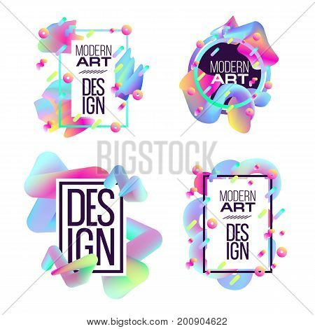 Vector frame for text Modern Art graphics for hipsters . dynamic frame stylish geometric colorful 80s-style kitsch. element for design business cards, invitations, gift cards, flyers and brochures.