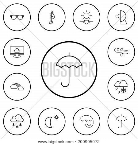 Set Of 12 Editable Climate Outline Icons. Includes Symbols Such As Breeze, Freeze, Moon With Star And More