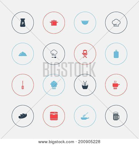 Set Of 16 Editable Cook Icons. Includes Symbols Such As Bread, Stir, Ale And More
