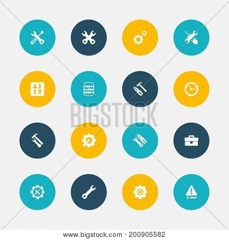 Set Of 16 Editable Toolkit Icons. Includes Symbols Such As Time, Portfolio, Mechanic Cogs And More