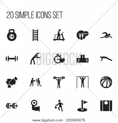 Set Of 20 Editable Lifestyle Icons. Includes Symbols Such As Gauntlet, Platform For Winner, Balance And More