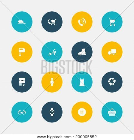 Set Of 16 Editable Trade Icons. Includes Symbols Such As Delivery, Garment, Bonnet And More