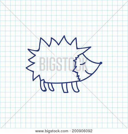 Vector Illustration Of Zoology Symbol On Hedgehog Doodle