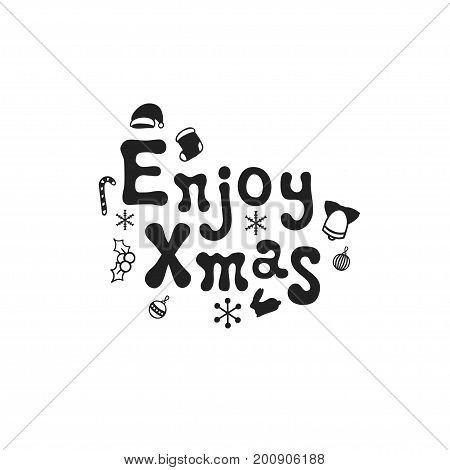 Enjoy xmas. Christmas calligraphy phrase. Handwritten brush seasons lettering. Xmas phrase. Hand drawn design element. Happy holidays. Greeting card text. Christmas calligraphy