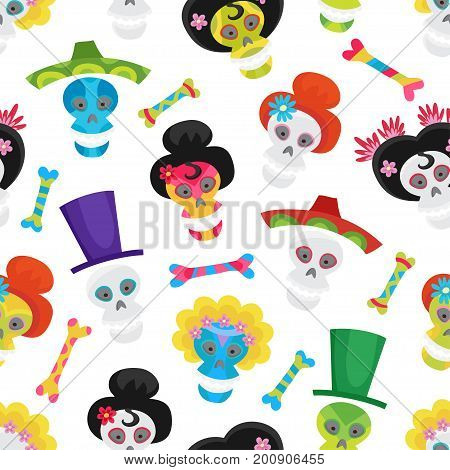 Seamless pattern with colorful skulls and bones for day of the dead or halloween. Sugar skuuls for mexican day of the dead. Cute skulls and flowers in a cartoon style.