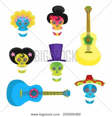 Set with colorful skulls for day of the dead. Sugar skuuls for mexican day of the dead or halloween. Cute skulls and flowers in a cartoon style.