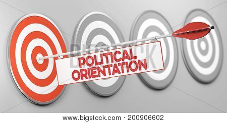 Political orientation on target as opinion or democray concept (3D Rendering)