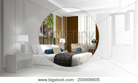 Elegant hotel room with bed as CAD development 3D Rendering