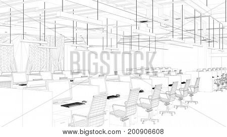 Office or call center as CAD wire mesh draft (3D Rendering)