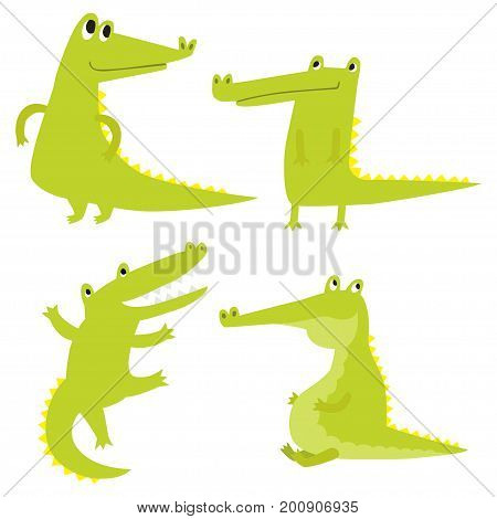 Vector set with happy fun crocodiles. Cartoon smiling alligators isolated on white background.