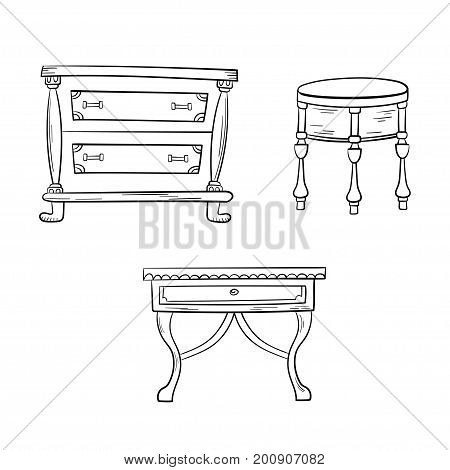 Furniture set - antique bureau, tables isolated on white background. Vector drawing lines.