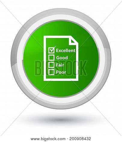 Questionnaire Icon Prime Green Round Button