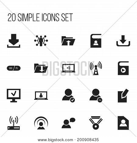Set Of 20 Editable Network Icons. Includes Symbols Such As Transfer, Dossier, Download And More
