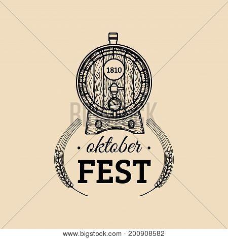 Oktoberfest label. Beer festival sign with hand sketched wooden barrel. Vector vintage brewery badge. Wiesn symbol.