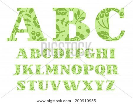 English alphabet, berries and herbs, light green, vector.  English alphabet. Capital letters with serifs. In light green letters painted dark green berries and twigs.