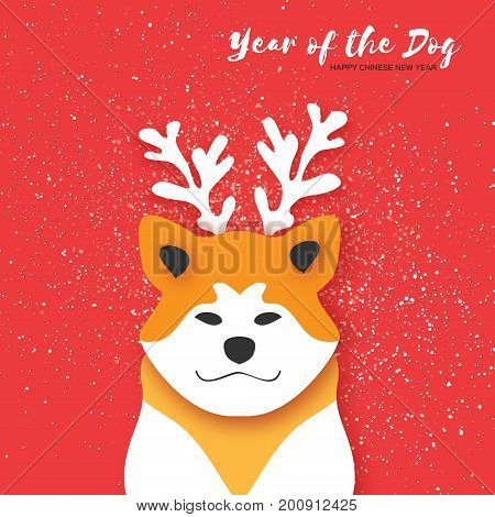 2018 Happy Chinese New Year Greeting Card. Chinese year of the Dog. Paper cut Akita Inu doggy with horns. Snow Celebration. Place for text. Vector illustration