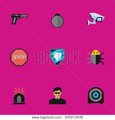 Set Of 9 Editable Procuring Flat Icons. Includes Symbols Such As Caution, Dynamite, Guard And More