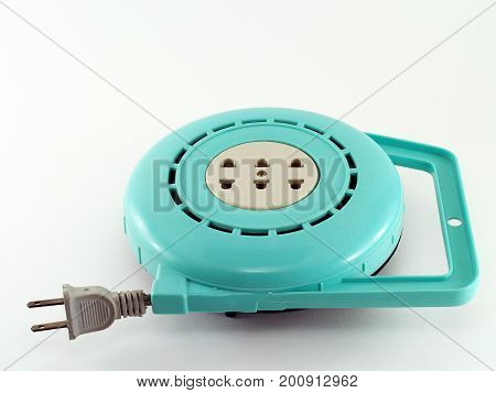 close-up extension sockets on white background, peripheral equipment for electric power plug