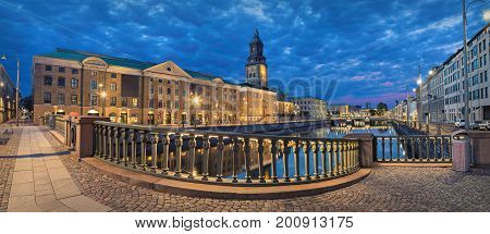 Panoramic view on the embankment from Residence bridge in the evening in Gothenburg Sweden
