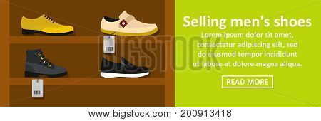 Selling mens shoes banner horizontal concept. Flat illustration of selling mens shoes banner horizontal vector concept for web