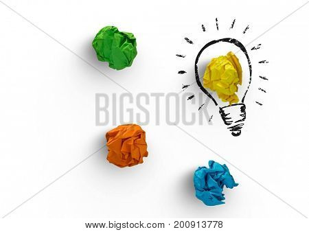 Digital composite of Light bulb with crumpled colorful paper balls