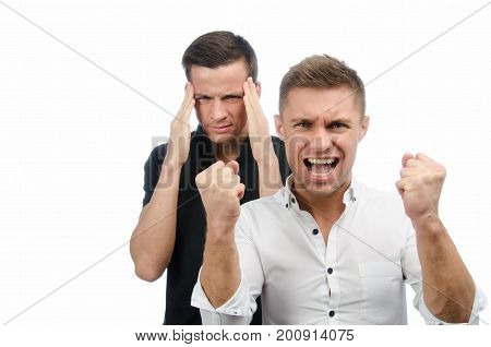 Two attractive guys swear. White background. Business and education.