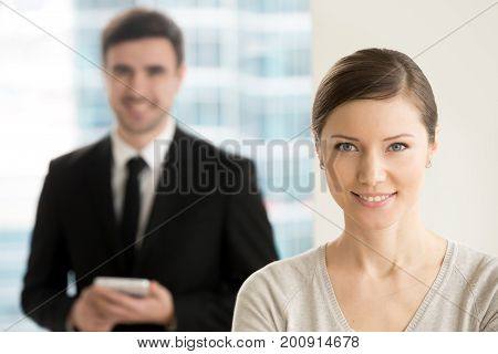 Confident professional business lady smiling for camera, internet online digital marketing team headshot portrait, social media advertising services, search engine optimization, mobile business apps
