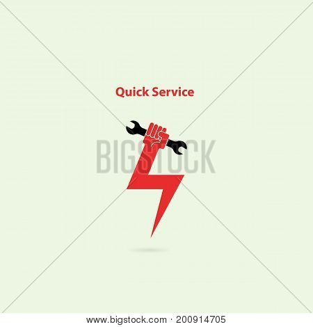 Human hand flash icon and wrench vector logo design template.Service tool icon.Quick fast flash repair sign.Vector illustration.