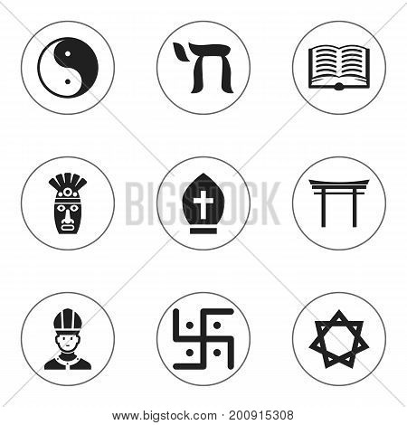 Set Of 9 Editable Faith Icons. Includes Symbols Such As Shaman, Christian, Shinto And More