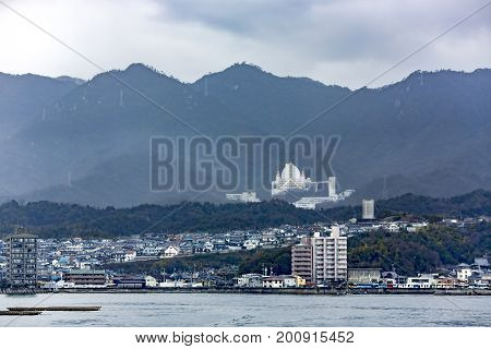 JAPAN, HIROSHIMA, APRIL, 06, 2017 - View from the water on the Japanese city of Hiroshima in the southwest of Honshu Island, Japan. The first city in the world that was subjected to nuclear bombing.