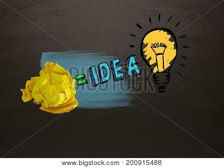 Digital composite of Crumpled paper equals idea light bulb with blackboard