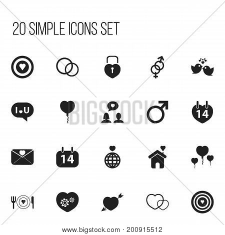 Set Of 20 Editable Passion Icons. Includes Symbols Such As Valentine Balloons, Affection Letter, Gear And More