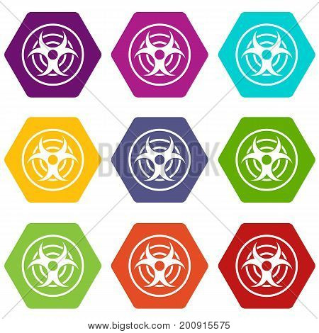 Sign of biological threat icon set many color hexahedron isolated on white vector illustration