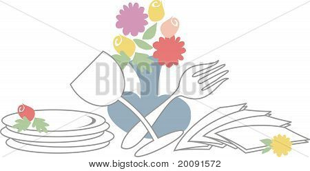Dinner or brunch catering with utensils and flowers