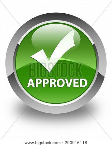Approved (validate Icon) Glossy Soft Green Round Button