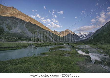 Lake Ak-kem Valley, Beluha Mountain. Altai Landscape