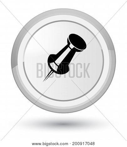 Push Pin Icon Prime White Round Button
