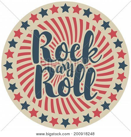 The inscription rock and roll on round vector emblem with the rays and red and blue stars in retro style