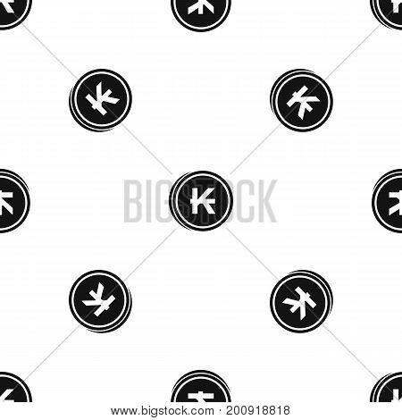 Coins lao kip pattern repeat seamless in black color for any design. Vector geometric illustration