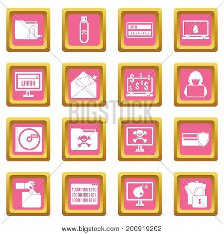 Criminal activity icons set in pink color isolated vector illustration for web and any design
