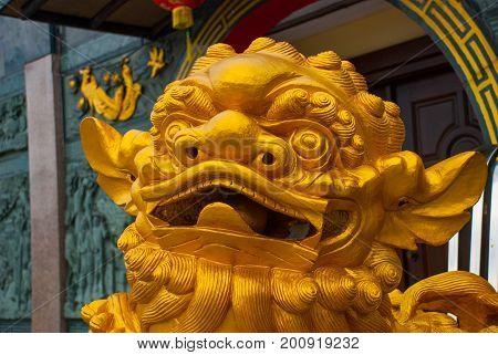 The Golden Sculpture At The Entrance. Tua Pek Kong Chinese Temple. Bintulu City, Borneo, Sarawak, Ma