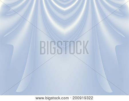 Soft light blue modern abstract fractal background illustration with stylized draping or curtains. Elegant creative template for wedding or fashion themed projects layouts designs banners flyers.