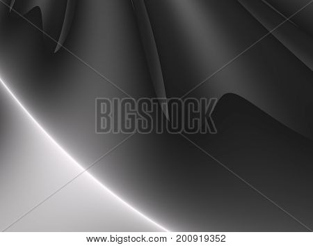 Soft black modern abstract fractal background illustration with stylized draping. Elegant art style. Dark smooth fabric. Creative template for funeral or fashion themed projects layouts designs etc.