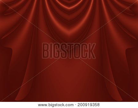Deep rich red modern abstract fractal background illustration with stylized draping or curtains. Dark smooth elegant creative template for fashion themed projects layouts designs banners flyers.