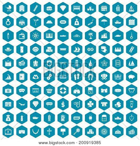 100 wealth icons set in sapphirine hexagon isolated vector illustration