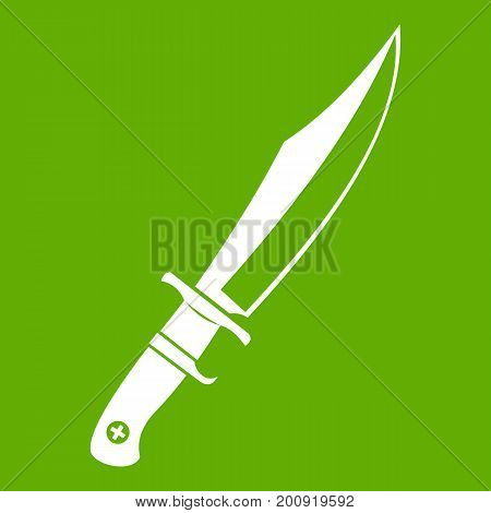 Dagger icon white isolated on green background. Vector illustration